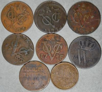 Dutch East Indies Lot of 5 1700's Duits and 3 other Dutch Coins