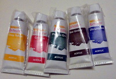 ACRYLIC PAINTS - 5 tubes 22ml each Set 1