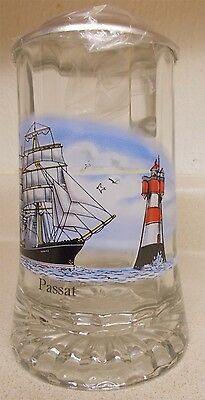 VINTAGE DOMEX GLASS STEIN w/ METAL LID CLIPPER SHIP PASSAT & LIGHTHOUSE BEER MUG