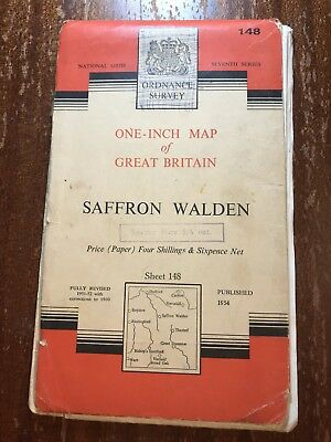 One-Inch Map Of Great Britain Saffron Walden 1954 National Grid Sheet 148
