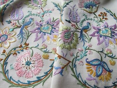 Vintage Hand Embroidered Table Runner-FABULOUS JACOBEAN STYLE CREWEL WORK(B)