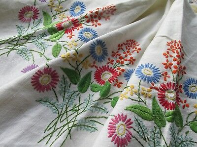 Vintage Hand Embroidered Table Cloth-PRETTY FLORAL MIX
