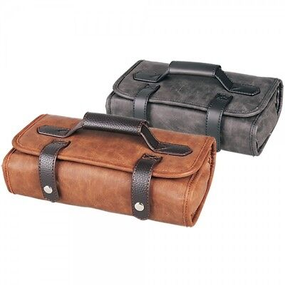 Head Jog Barber Tool Roll in Black/Charcoal or Brown Leather Effect