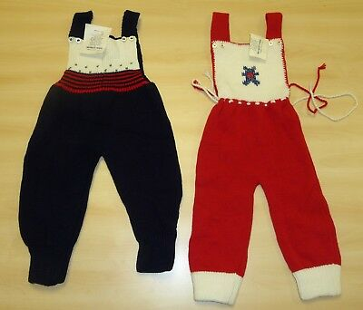 2 x VINTAGE 1970's UNWORN BABIES KNITTED DUNGAREES ASSORTED COLOURS (PATTERN J)