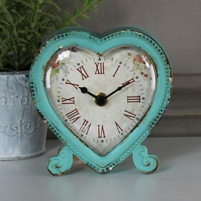 Pretty blue boudoir heart mantel shelf desk clock shabby vintage chic girly gift