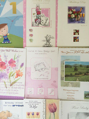 50 Greeting Cards Bargain Wholesale Job Lot Of Assorted Designs - No Envelopes