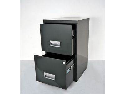 2 DRAWER STAPLES STEEL MAXI FILING CABINET / DARK GREY / A4 NEW +FREE 24h DEL