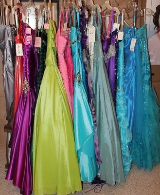 NWT LOT of 20 long beaded Prom gowns sizes 2-14, Variety Designers, colors,style