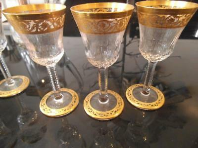 3X St Saint Louis Crystal Thistle Gold Cordial Sherry Glasses 10.5Cm Set B2