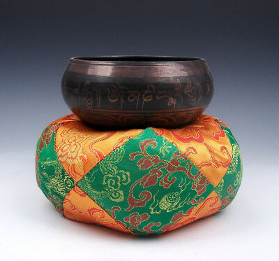 Tibetan LARGE Silk Dragon Flowers Pillow Cushion Stand Easel For Singing Bowl #1
