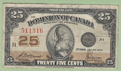 1923 Dominion of Canada 25 Cents Note - MCCavour/Saunders - 511316 - Fine