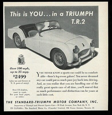 1955 Triumph TR2 TR-2 This is You in a T.R.2 car photo ad