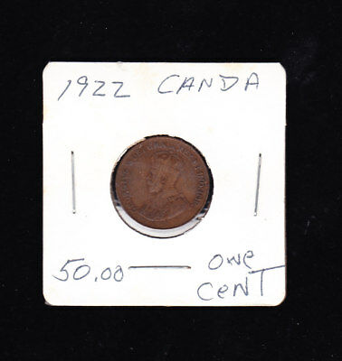 1922 Canada One Cent Penny Key Date