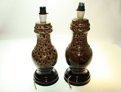 Two Desk Lamps 'Melba Ware' Treacle Glazed & Honeycomb Drip