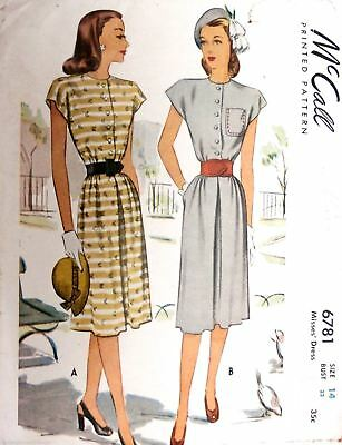 Vintage 1940s Sewing Pattern McCall #6781 Misses' Dress Size 14 Bust 32