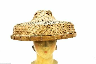 Antique Vintage Chinese Wicker Coolie Hard Straw Hat One Size