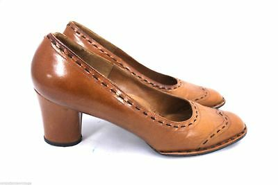 VTG 70s Selby Spectrum Heels Unique Leather Womens 9 M Heels Tan Topstitching