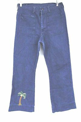 VTG JC Penneys Blue Jeans Patch Pocket Embroidered Hippy 1970s Bell Bottom 32x32