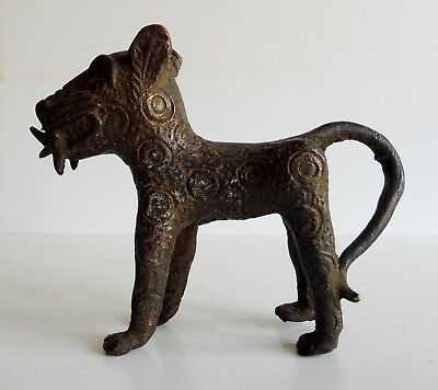 Rare Old African Benin Bronze Leopard Sculpture - Great Display Piece - Superb