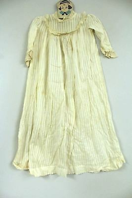 "Antique Christening Gown Dress Doll Size 1900 WW 1 Victorian Peg Hanger 28"" Long"