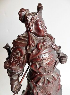 Magnificent Carved Antique Wooden Figure Of A Japanese Warrior - Signed On Base