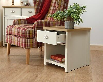 Cream and Oak 1 Drawer Lamp Table with shelf Side End Table Lancaster Range