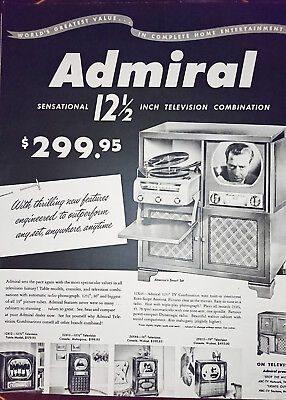 ORIGINAL FULL PAGE ADVERT FROM 1950 LOOK MAGAZINE - Admiral TV record player