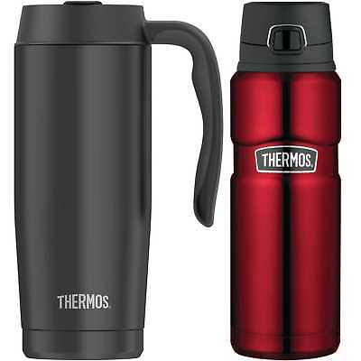 Thermos 24 Oz Stainless King Drink Bottle (Red) with 16 Oz Travel Mug (Black)