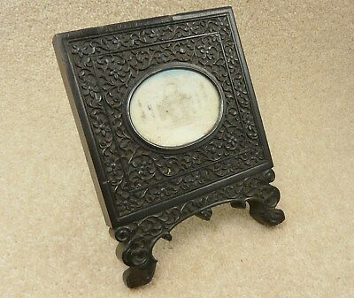 Antique Old Indian Carved Easel Framed Hand Painted Miniature Of The Taj Mahal
