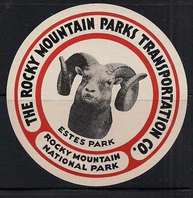 1920s Rocky Mountain Nat Park Bus Co Colorado Poster stamp Luggage label CSU RAM