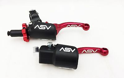 ASV F3 Pro Pack Shorty Red Unbreakable Folding Brake + Clutch Levers KFX 450R