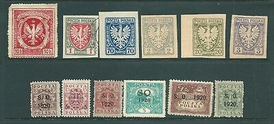 POLAND early stamp group including 1920 overprints