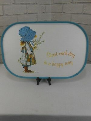 Vintage Holly Hobbie RARE Kitchen Serving Lap Tray 'Start each day' 17.5 x 11.5