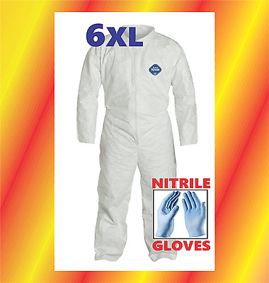 6XL Tyvek Protective Coveralls Suit Hazmat Clean-Up Chemical FREE Nitrile Gloves