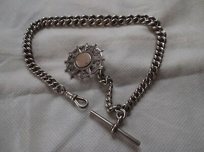 Victorian heavy graduated solid silver pocket watch albert chain with fob 1901