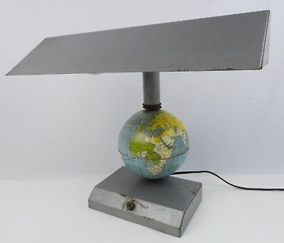 Vintage Industrial Deco desk Lamp w/ Metal Spinning World Globe 2-Light Working