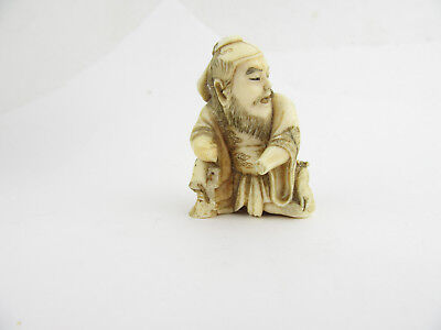 Late 19th C Japanese Carved Netsuke Depicting A Warrior With Rat, A/F