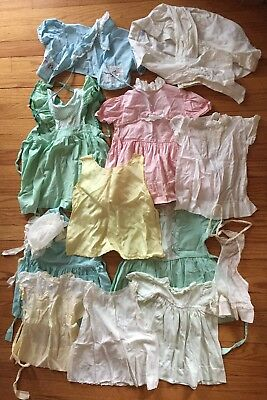 1950s CHILDRENS CLOTHES 13 PCS MOSTLY BABY GIRL TODDLER DRESSES NEED IRONING HAT