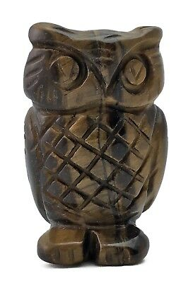 Owl Tigers Eye Hand Carved Gemstone Animal Totem Statue Stone Sculpture