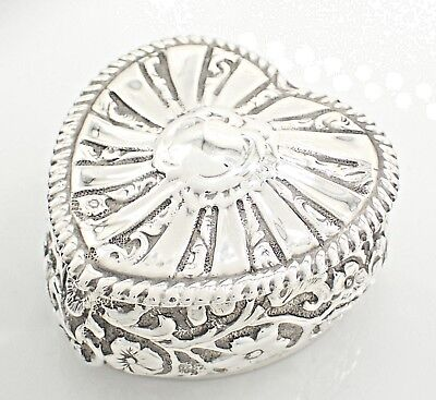 Antique 1898 Victorian Sterling Silver Heart Shaped Box - Henry Mathews