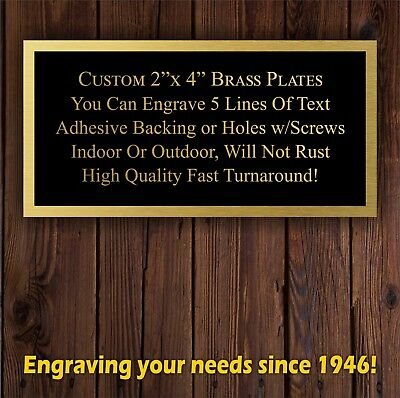 "Engraved 2""x4"" Plate TWO TONE BRASS Name Plate Custom Plaque Tag Lab Art Trophy"