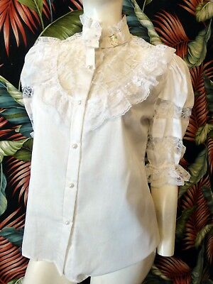 80s white cottonblend Victorian styled blouse with lace NEWOLD sz M 38 bust as i