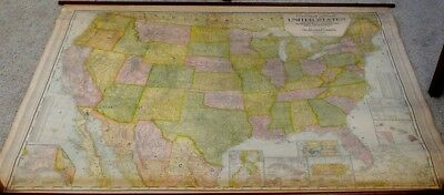 Antique Canvas United States Pull Down Map of Territorial Possessions & Railways
