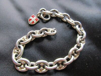 Antique Vintage Large Sterling Silver Marine Link Charm Bracelet Fob Watch Chain