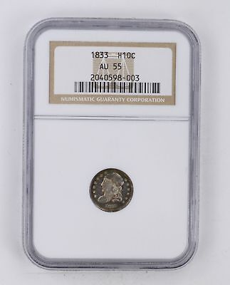 AU55 1833 Capped Bust Half Dime - NGC Graded *3759