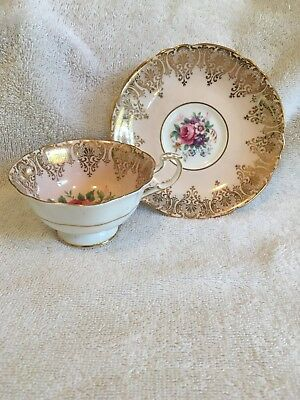 Pink & Gold Paragon China Teacup & Saucer By App. To The Queen A2300