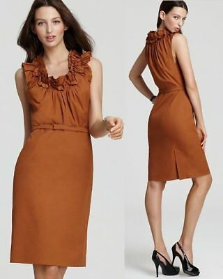 $348 Elie Tahari Roxanna Poplin Redwood Ruffle Trim Neck Dress 14