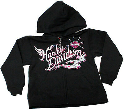 Harley-Davidson Kids Girls Youth Sparkle Flames B&S Full Zip Black Hoodie Jacket