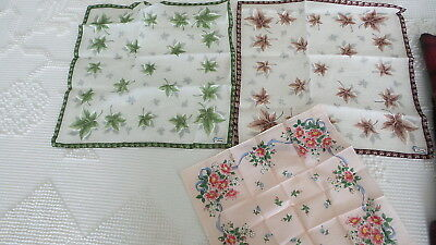 Lot of 3 Vintage BURMEL ORIGINAL HANKY, HANKIES,HANDKERCHIEFS Floral, Leaf