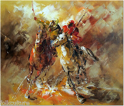 Horse Polo at Deauville - Hand Painted Modern Oil Painting On Canvas 50x60cm
